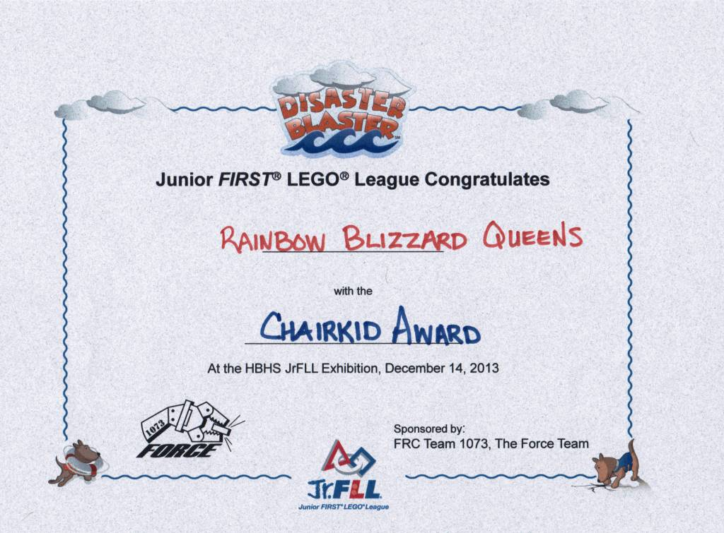 Rainbow Blizzard Queens - Chairkids award